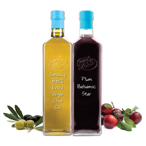Smoky BBQ Extra Virgin Olive Oil & Plum Balsamic Star Marasca Set