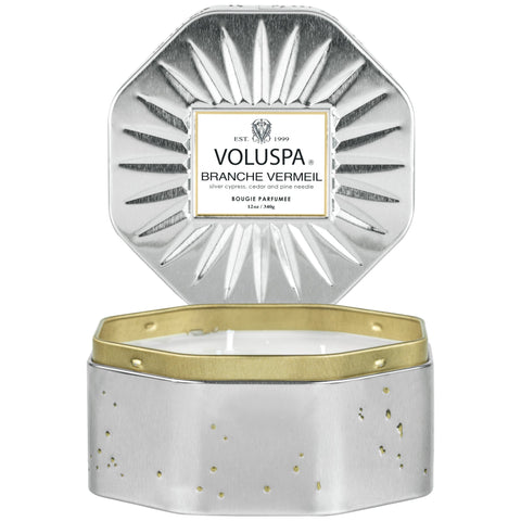 Branche Vermeil - 3 Wick Octagon Tin Candle