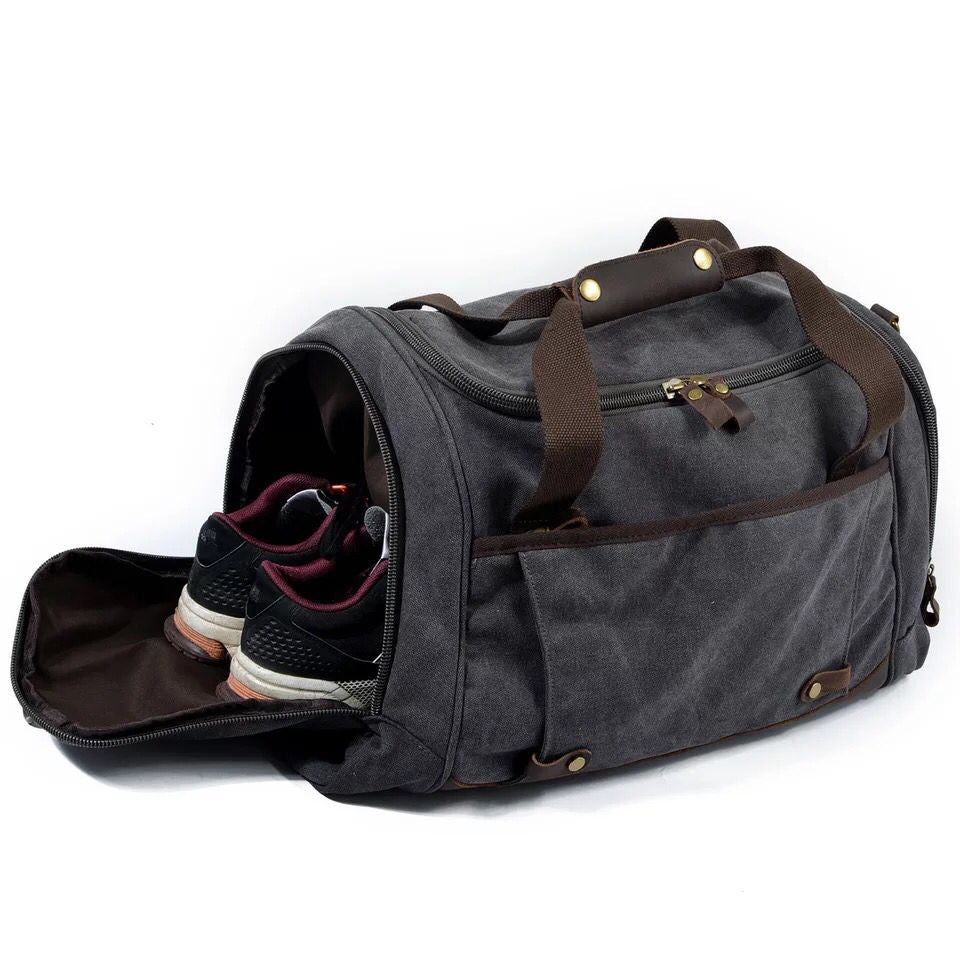 ... Men Duffle Bag Canvas Carry On Weekend Bag Male Tote Overnight  Multifunction Military Large Capacity Casual ... 815774e080a6b