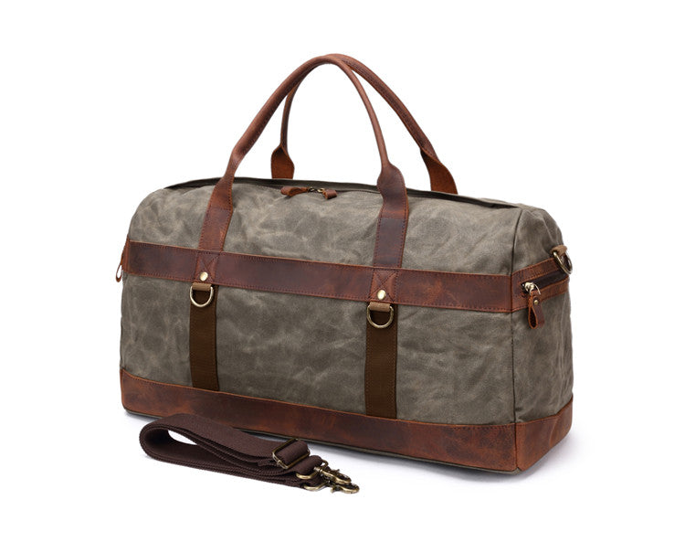 Vintage Waterproof Big Men Travel Bags Canvas Leather Duffle Bag c2816dcab8b5d