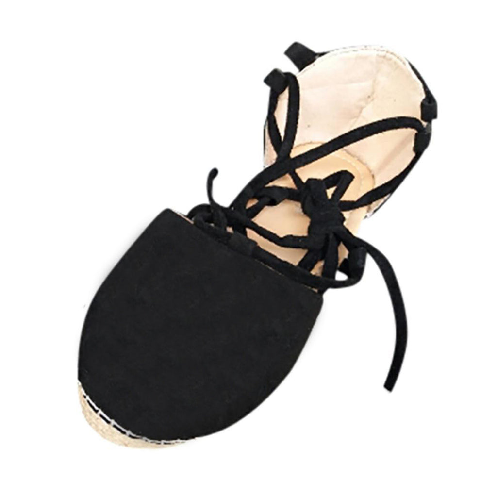 90c3779480 ... Womens Flat Lace-Up Espadrilles Summer Chunky Holiday Sandals Shoes  Strap Shoes ...