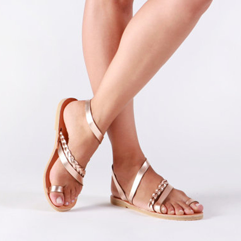 ec78847271ea4 Women Summer Strappy Gladiator Low Flat Heel Flip Flops Beach Sandals Shoes  ...