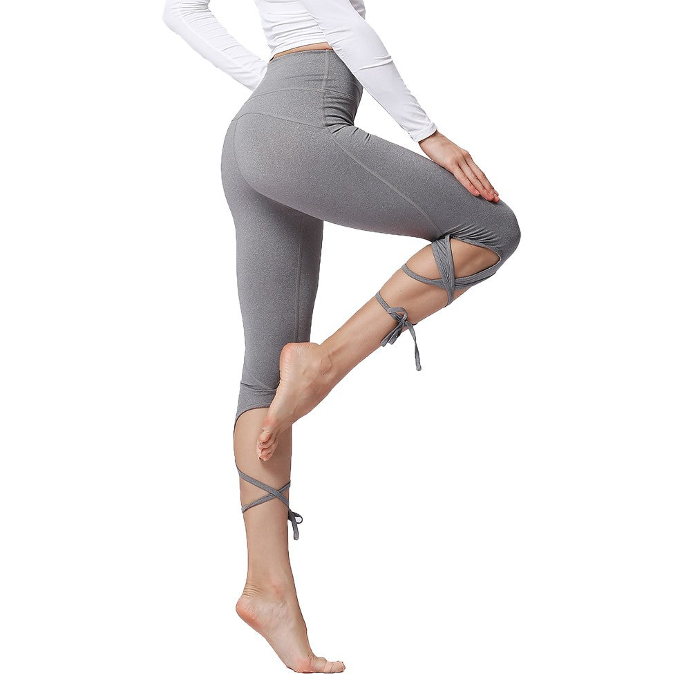 135c6191eb8ed ... Sport Tights Pants Woman Fitness High Waist Push Up Solid Slim Cross  Bandage Lace Up Stretch ...