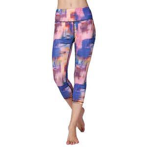 981147d378df02 Fitness Women Capri Leggings High Waist Slim Printed Nylon Quick Dry Stretch  Yoga Jogging Training Workout