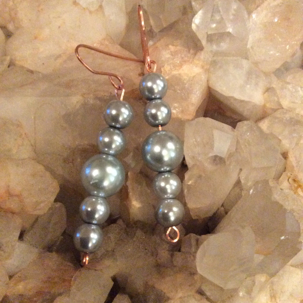 Glass Pearls & Copper Earrings