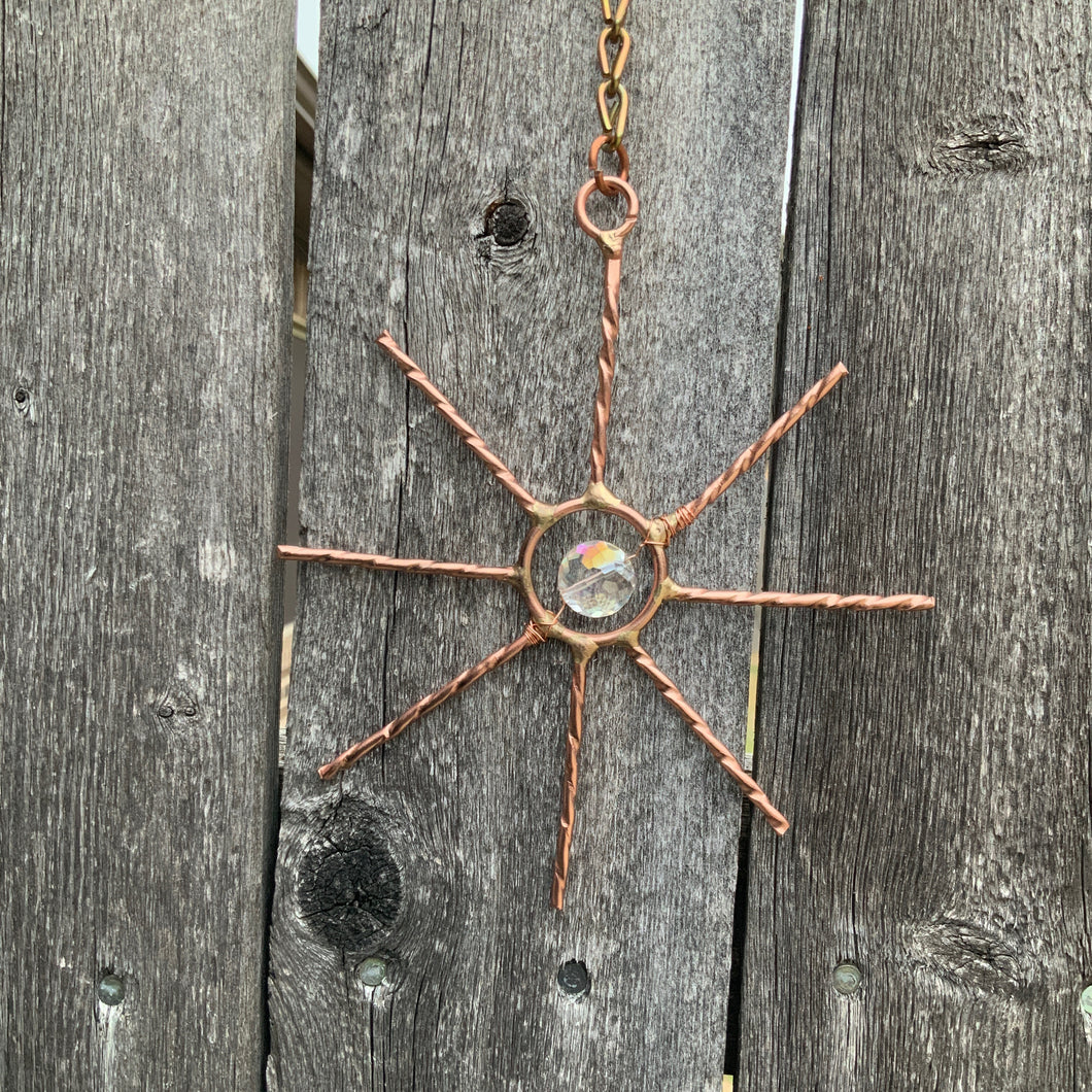 "4"" Copper and Crystal Star Suncatcher"