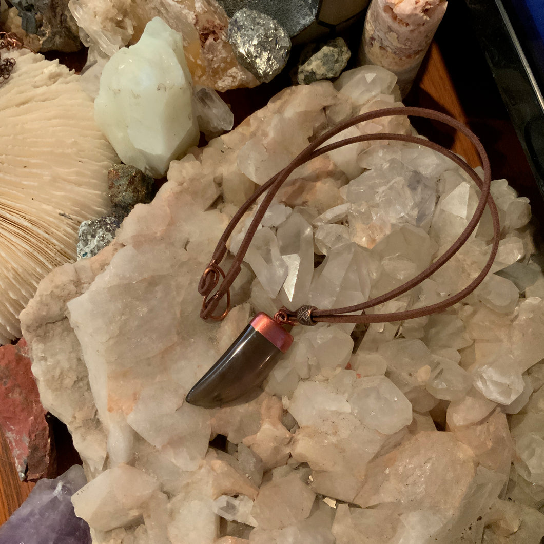 Smokey Quartz & Leather Necklace