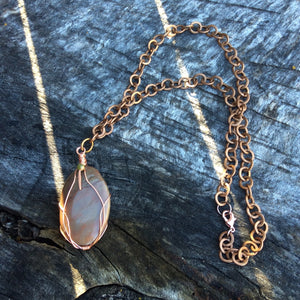 Wire Wrapped Jasper Stone & Copper Necklace