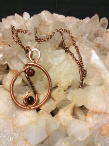 Wire Wrapped Tigers Eye and Copper Necklace