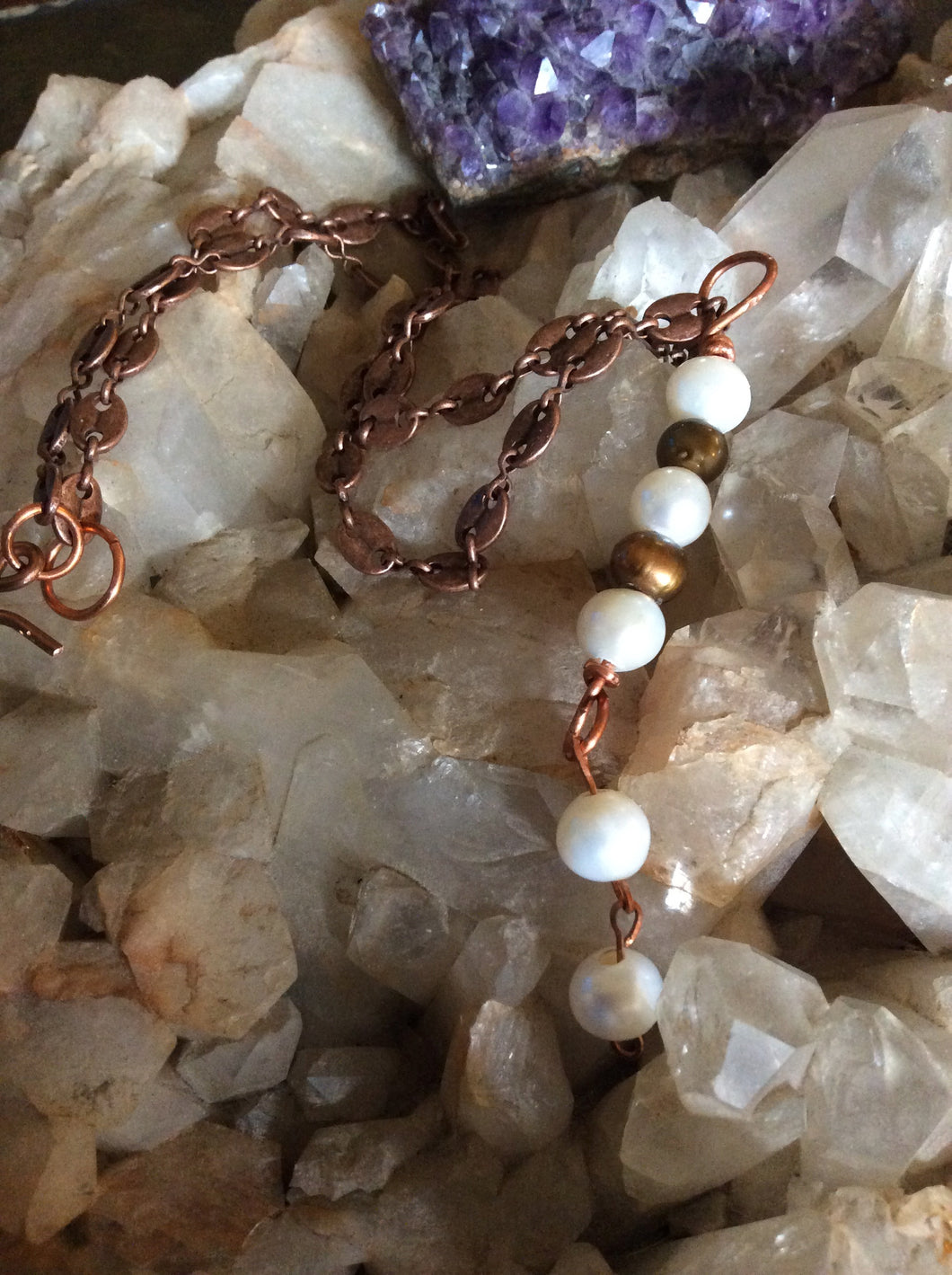 Copper & White Pearls with Copper Necklace