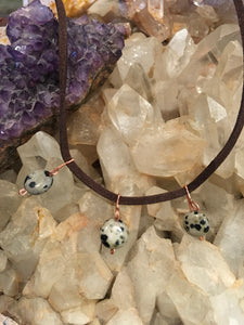 Dalmatian Jasper Leather Choker