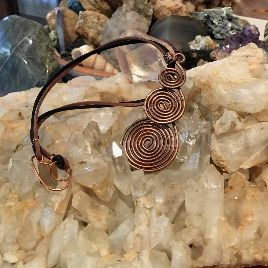 Copper Spiral & Leather Necklace