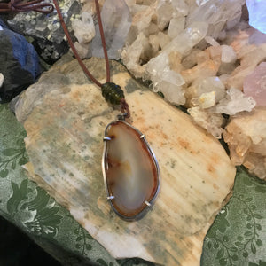 Agate Slab & Copper Necklace
