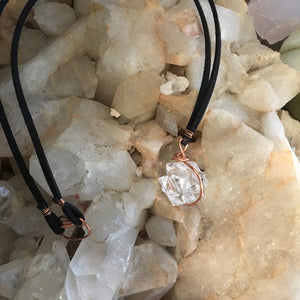 Crystal Merkaba & Leather Necklace