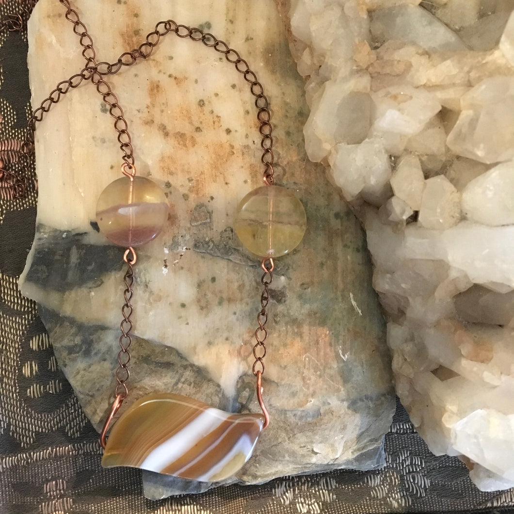 Agate, Fluorite & Leather Necklace