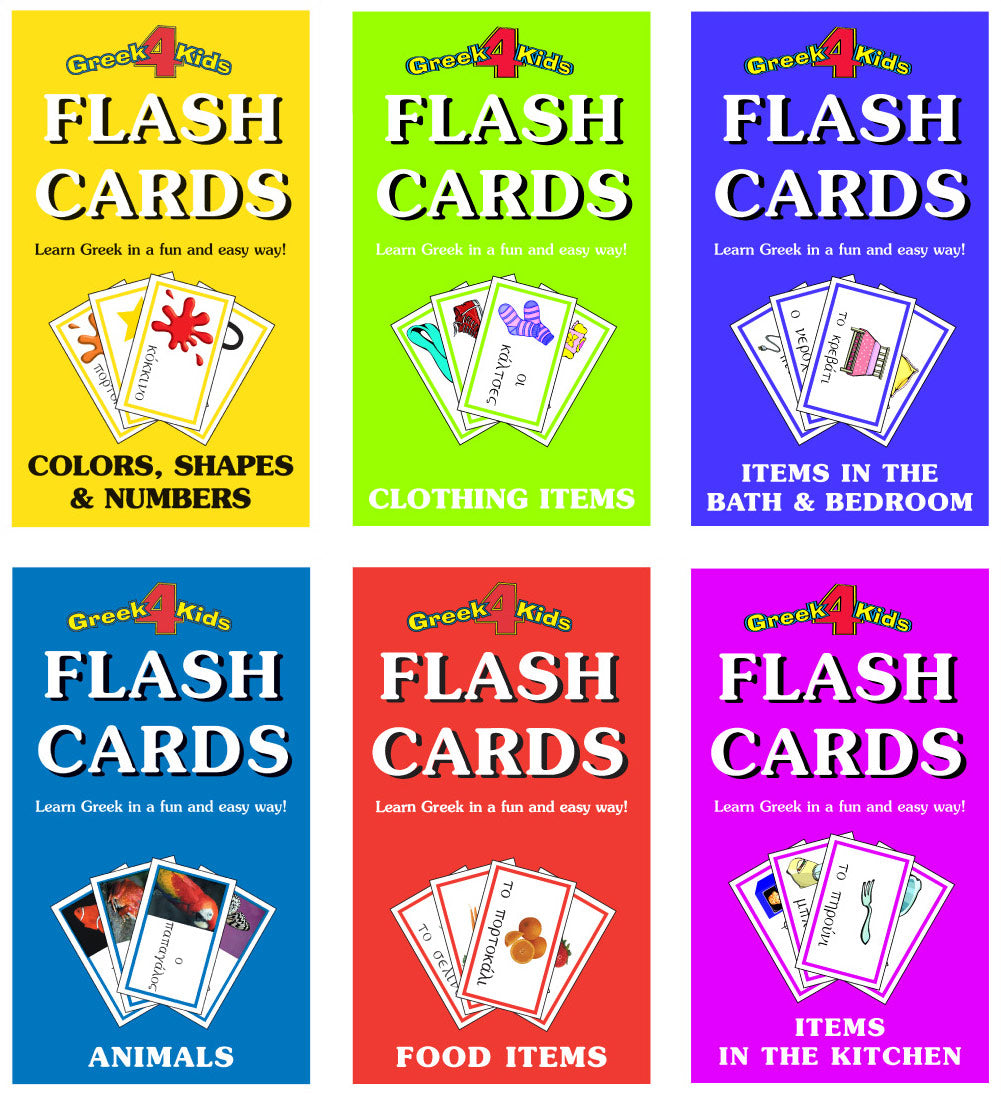 greek flash cards all 6 pack