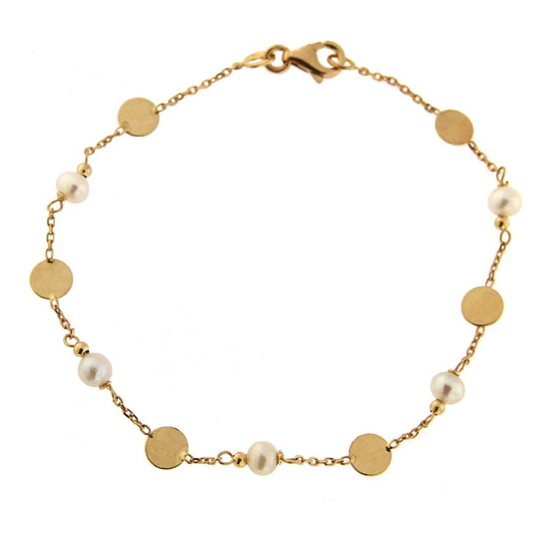 18K Yellow Gold Pearls and Polished CIrcles  Bracelet 6.75 inches Circle 4.90mm Pearls  4mmAmalia J. & Boutique Bracelets