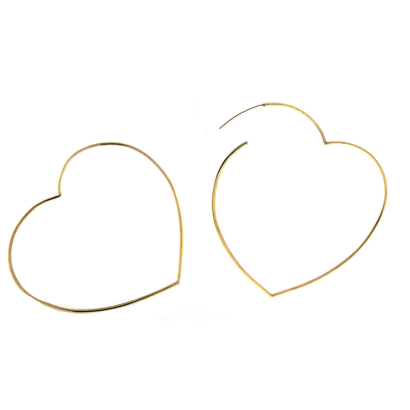 18K Yellow Gold   Heart  Endless Hoop Earrings L.2.5 inches 1.20mm tubeAmalia J. & Boutique Earrings