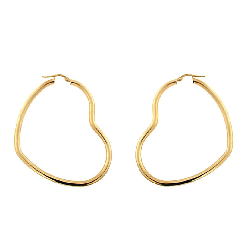 18K Yellow Gold  Open Heart  Hoop Earrings  L. 2.25 inch 3mm  tubeAmalia J. & Boutique Earrings