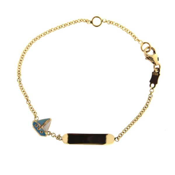 18K Solid Yellow Gold Light blue and white Enamel Sail Boat Id Bracelet 5.5 inches with extra ring at 4.75 inchesAmalia J. & Boutique Bracelets