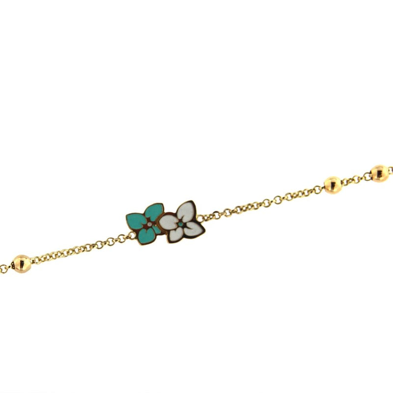 18K Solid Yellow Gold  Center Turquoise and White Enamel Flowers  with Four Gold beads Bracelet  5.60 inches with extra rings starting 4.90 inchesAmalia J. & Boutique Bracelets