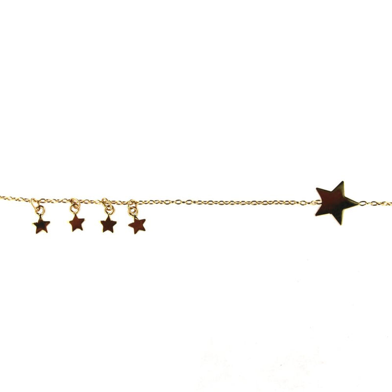 18K Solid Yellow Gold In line Polished Star and Dangling  Four Tiny Stars 7 inches Bracelet with extra rings starting at 6.50 inchesAmalia J. & Boutique Bracelets