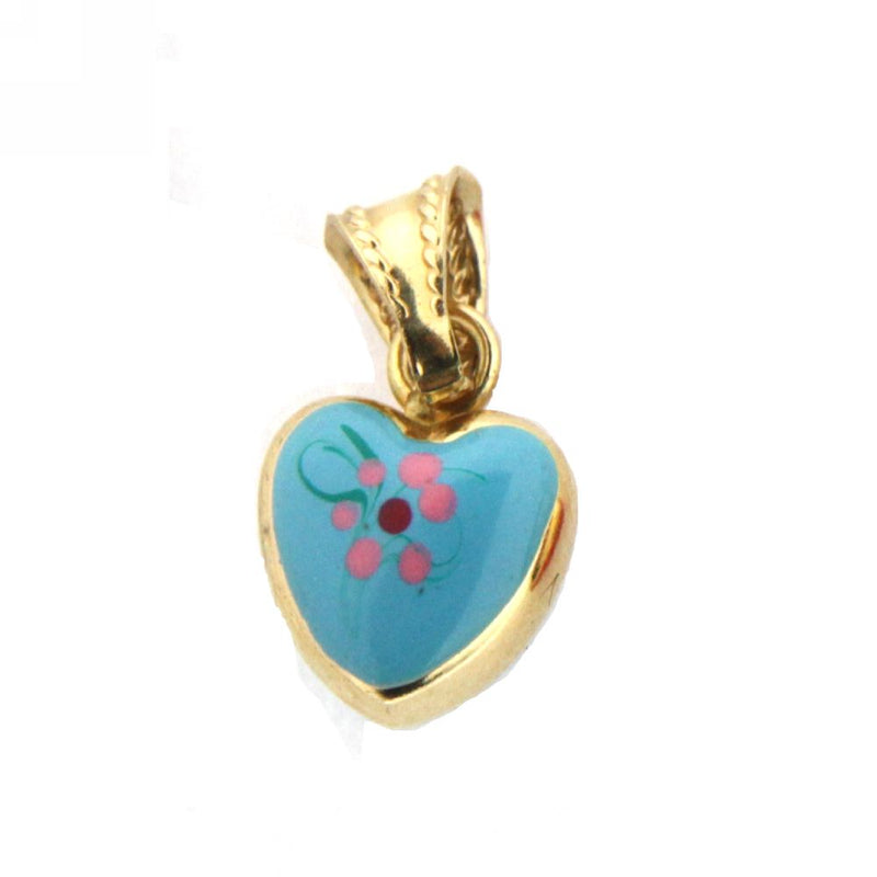 18K Yellow Gold Aqua Enamel Heart Charm (10mm/17mm with Bail)Amalia J. & Boutique Charms