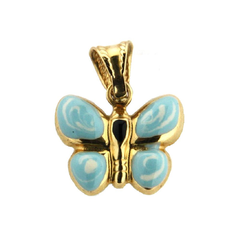 18K Yellow Gold Light Blue Enamel Butterfly Charm (14mm x 10mm / 17mm with Bail)Amalia J. & Boutique Charms