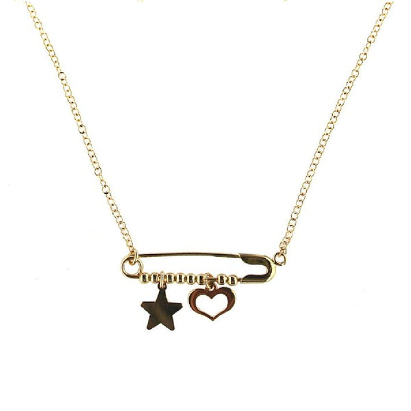 18k Yellow Gold  Heart and Star Safety pin Necklace 16 inches with extra ring at  15 inchesAmalia J. & Boutique Necklaces