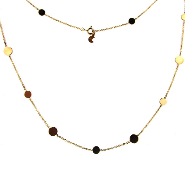 18k Solid Yellow Gold Large and Small  Circles Necklace 17.50 inchesAmalia J. & Boutique Lady Gold Jewelry