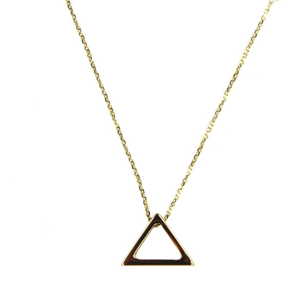 18K Solid Yellow Gold Open Triangle Necklace 17 inches thin cable chain with extra rings starting at 16 inches Triangle  H 0.36 inchesAmalia J. & Boutique Lady Gold Jewelry