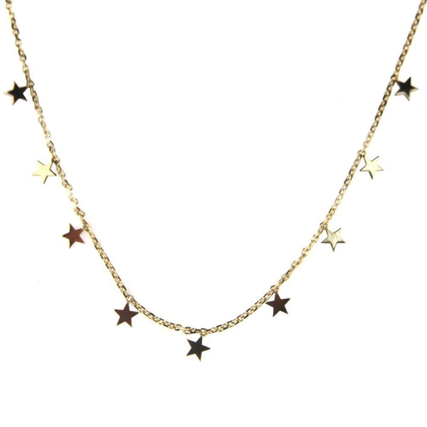 18K Solid Yellow Gold Hanging MIni Starss Necklace 17 inches with extra rings starting  at 16 inches Stars  H 0.15 inchAmalia J. & Boutique Lady Gold Jewelry