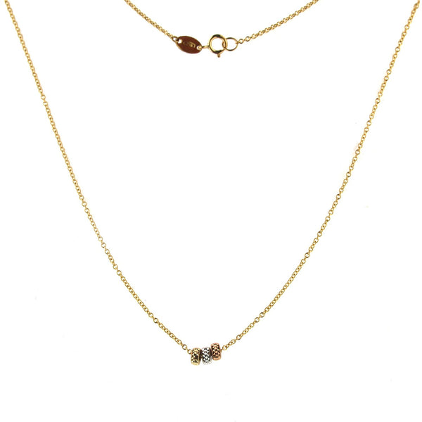 18k Solid Yellow Gold Cable chain with White Pink and Yellow Gold diamond cut Roundels Necklace 16 inchesAmalia J. & Boutique Jewelry > Necklaces > Pendants