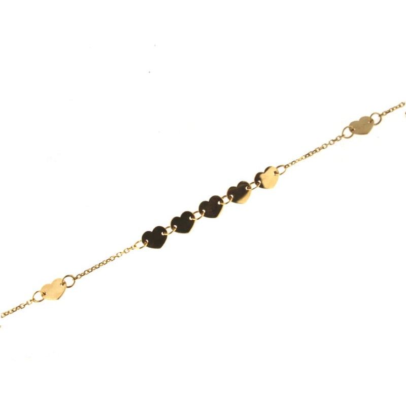 18k Yellow  Gold Polished Hearts Bracelet 6.75 inches with extra ring at 6.25 inchesAmalia J. & Boutique Bracelets