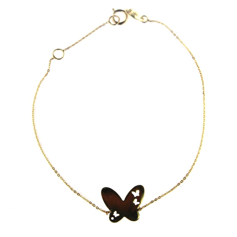 18k Yellow  Gold  Polished  Butterfly Bracelet 7 inches with extra ring at 6.20 inchesAmalia J. & Boutique Bracelets