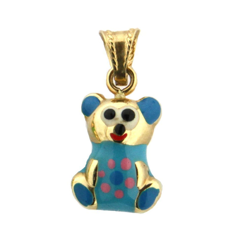 18K Yellow Gold Light Blue Enamel Teddy Bear Charm (14mm x 11mm / 21mm with Bail)Amalia J. & Boutique Charms
