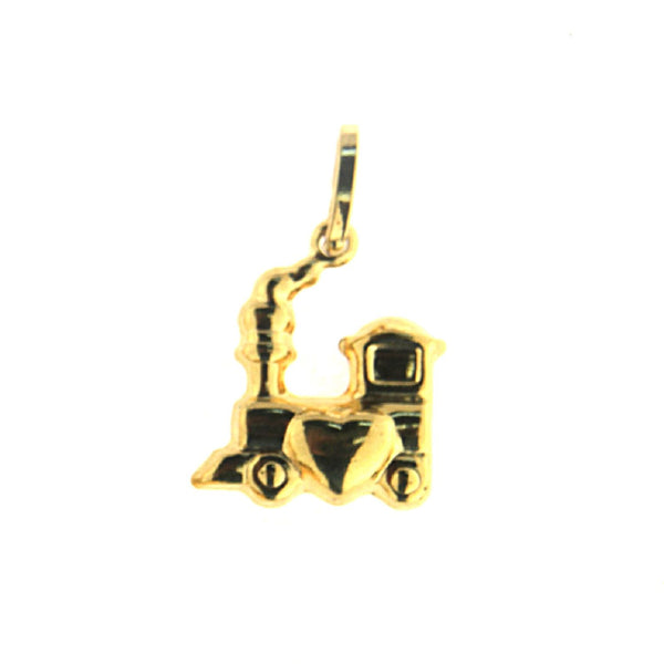 18K Solid Yellow Gold Polished Train with heart  Pendant 0.45 x 0.50 inchAmalia J. & Boutique Charms