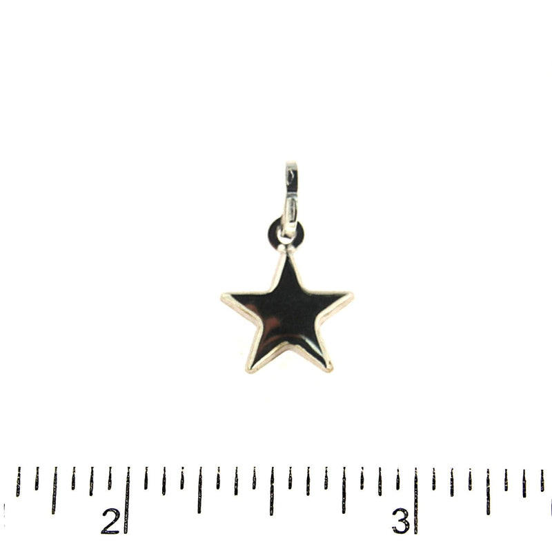 18K Solid White  Gold Polished Puffy Small Star Pendant 0.49 inchAmalia J. & Boutique Charms