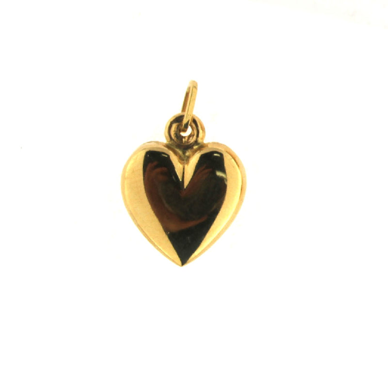 18K Solid Yellow  Gold Polished Puffy Large Heart  Pendant 0.56 x 0.61  x 0.20Amalia J. & Boutique Charms