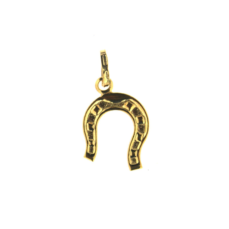 18K Solid Yellow  Gold  Horse Shoe Pendant 0.39 x 0.35 inchAmalia J. & Boutique Charms