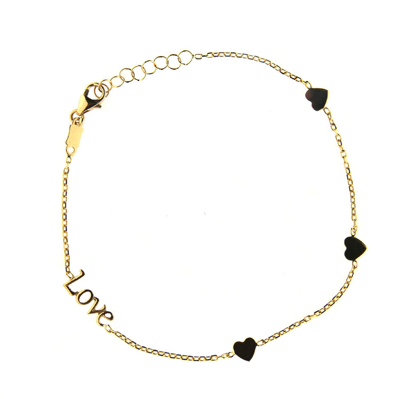 18K Solid Yellow Gold Love and Three Polished Hearts 7 inches Bracelet with extra rings starting at 6.5 inchessAmalia J. & Boutique Bracelets