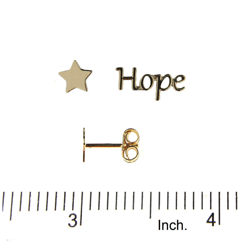 18K Solid Yellow Gold Hope and Star Post Earrings  0.52 X 0.23   0.22 X 0.21  IncAmalia J. & Boutique Earrings