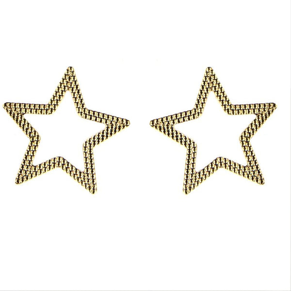 18K Solid Yellow Gold Open Star Post Earrings 0.61 x 0.60 inchAmalia J. & Boutique Lady Gold Jewelry