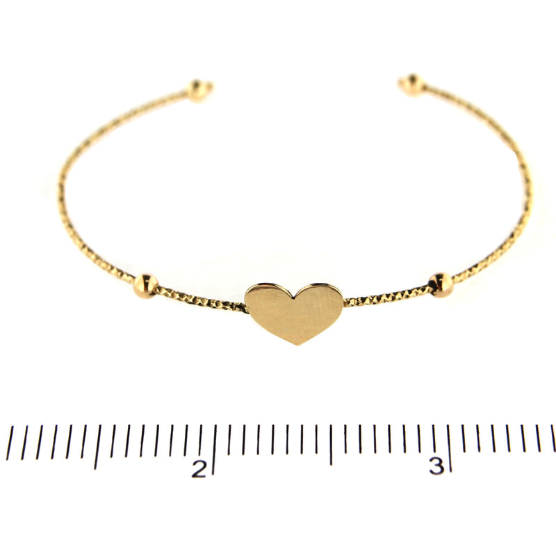18k Yellow Gold  diamond cut  tube polished center Heart Bangle 6.5 inches ajustableAmalia J. & Boutique Bracelets