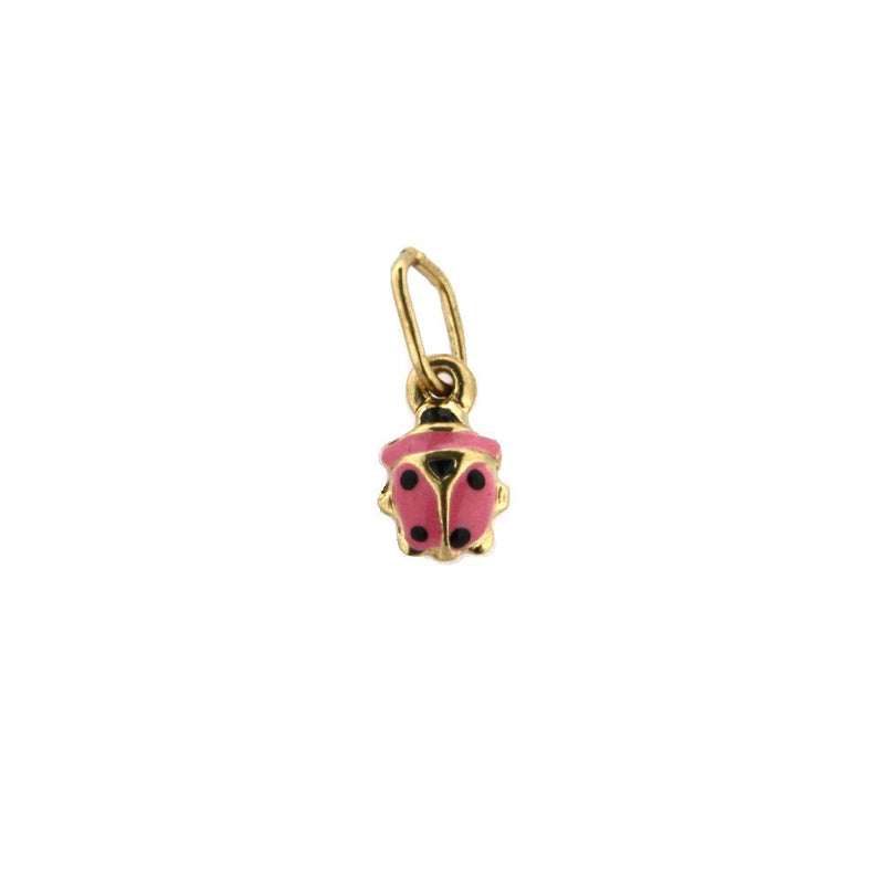 18K Yellow Gold Pink Lady Bug Enamel Charm (4mm/11mm with Bail)Amalia J. & Boutique Charms