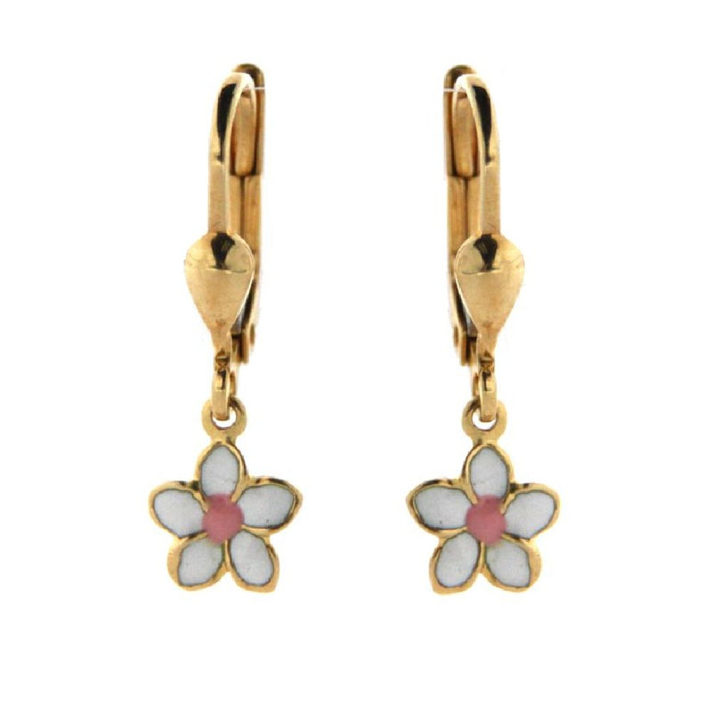 18K Yellow Gold White and Pink Enamel Flower Lever Back Earrings 7mm Flower/Length 23mm 0.93 inchAmalia J. & Boutique Earrings