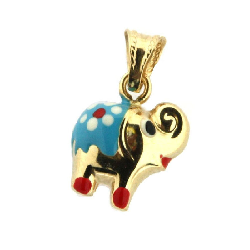 18K Yellow Gold Light Blue Enamel Elephant Charm (12mm x 10mm / 19mm with Bail)Amalia J. & Boutique Charms