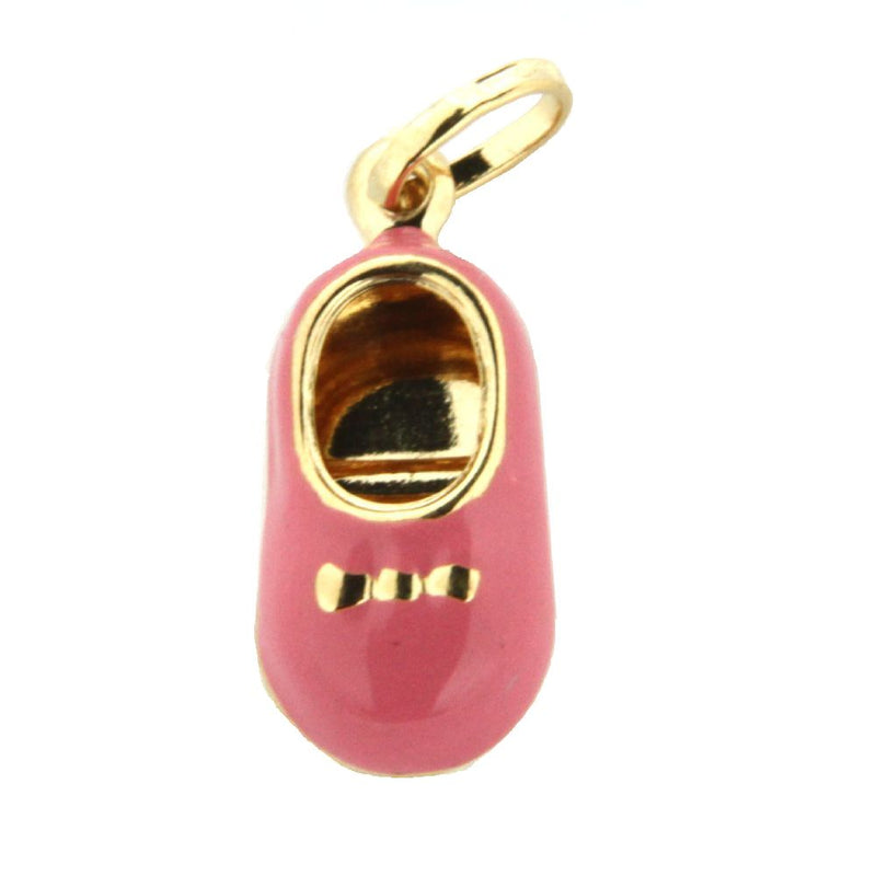 18K Yellow Gold Pink Enamel Shoe Charm (15mm X 10mm/25mm with Bail)Amalia J. & Boutique Charms