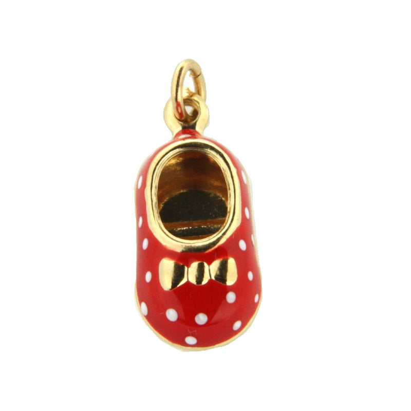 18K Yellow Gold Red Enamel Shoe Charm with polka dots (15mm X 10mm/25mm with Bail)Amalia J. & Boutique Charms