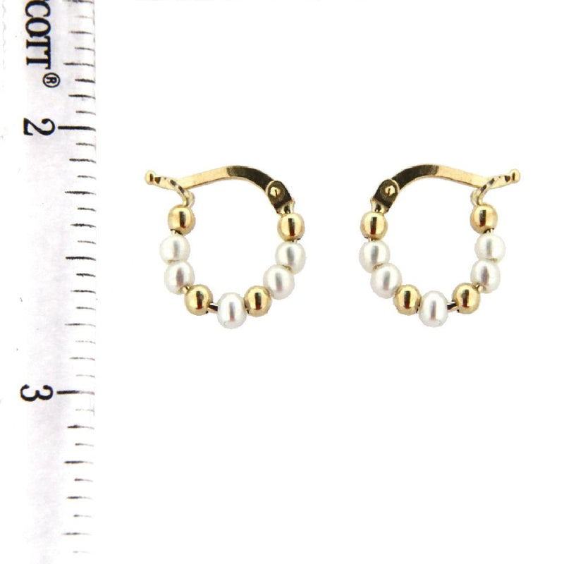 18K Yellow Gold Bead Hoop with cultivated Pearls  (11mm)Amalia J. & Boutique Earrings